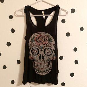 🌈5/$25🌈Ocasion black skull tank top size S